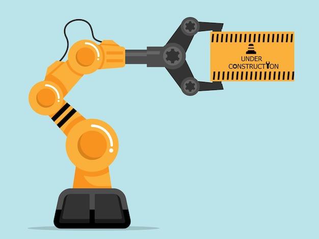 Site em construção com design plano de ilustração de braço robótico
