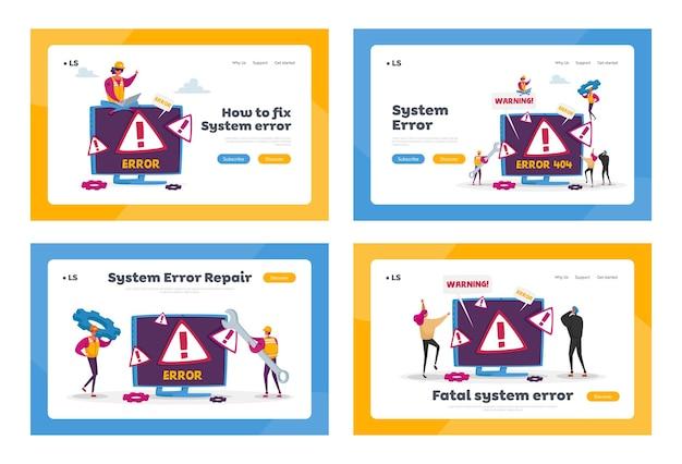 Site em construção landing page template set. página de erro 404 do site com caracteres minúsculos segurando ferramentas para reparo