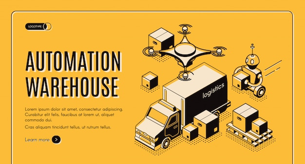 Site isométrico de automação de armazém de entrega