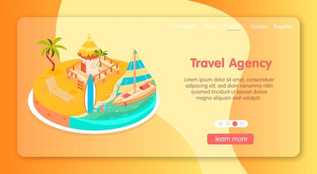 Site isométrico de descanso tropical com tema de agência de viagens