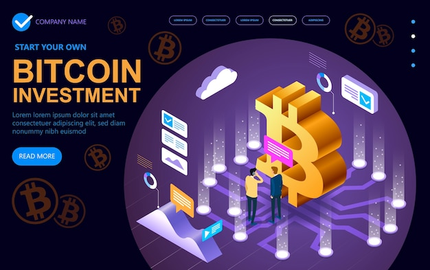 Site isométrico de negócios moderno de conceito dedicado a bitcoin, conceito isométrico