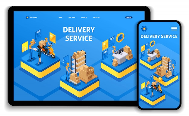 Site modelo. conceito isométrico, trabalhando com o serviço de entrega. entrega expressa, pedido on-line, central de atendimento. fácil de editar e personalizar o uiux da página de destino