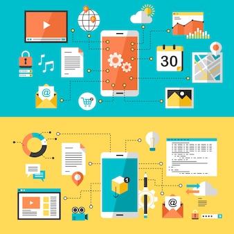 Site para celular e design de aplicativo em design plano