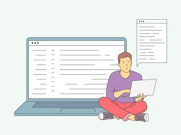 Site, programação, conceito de desenvolvimento. jovem programador freelancer, codificando com laptop. plano