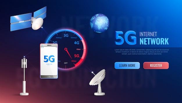 Site realista da moderna tecnologia da internet com informações sobre comunicação de dados padrão de alta velocidade 5g