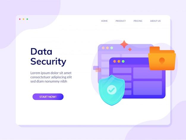 Site segurança segurança página inicial modelo design ilustração vetorial