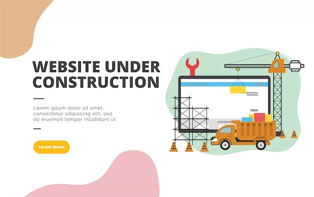Site sob a ilustração de banner de design plano de construção