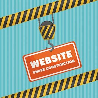 Site sob banner de construção