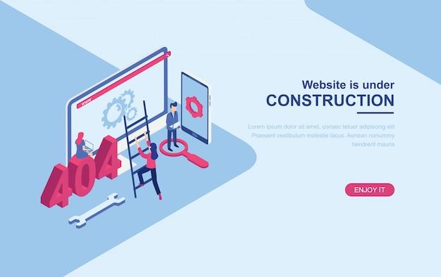 Site sob modelo de web de página de aterrissagem isométrica de página de construção