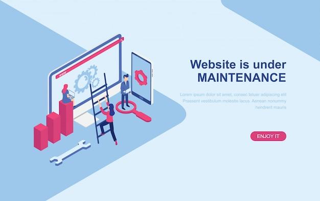 Site sob modelo de web de página de destino isométrica de página de manutenção