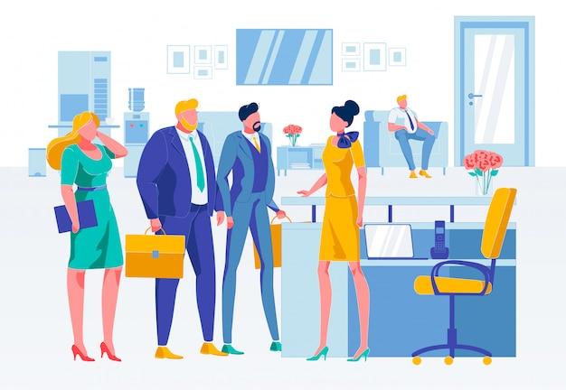 Situação da empresa na ilustração plana de recepção