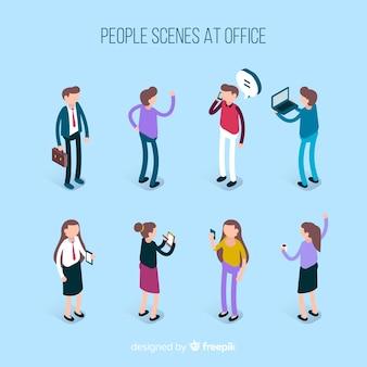Situações das pessoas na coleta isométrica do escritório