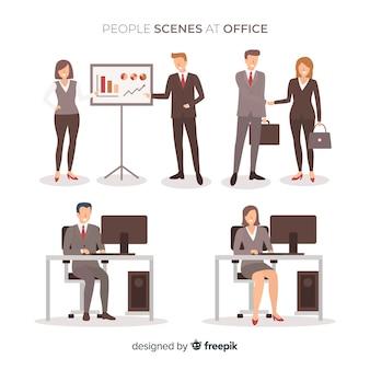 Situações de pessoas na coleção plana de escritório