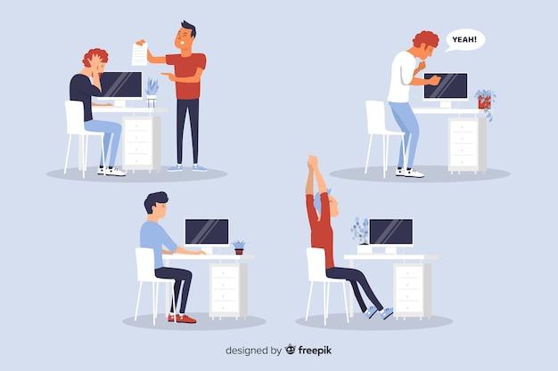 Situações de trabalhadores de escritório de design plano
