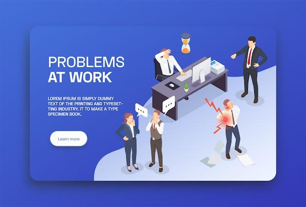 Situações problemáticas na página de destino colorida isométrica do trabalho