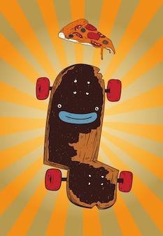 Skate alegre pensando em uma pizza saborosa