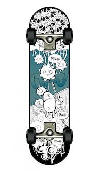 Skate com desenho de graffiti