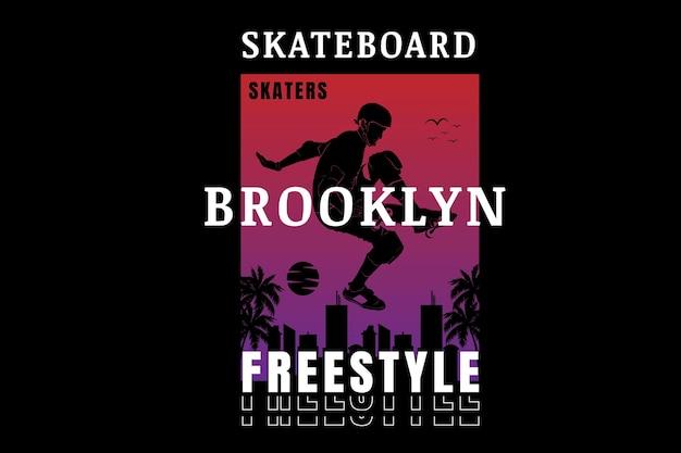 Skate de estilo livre do brooklyn cor vermelha e roxa