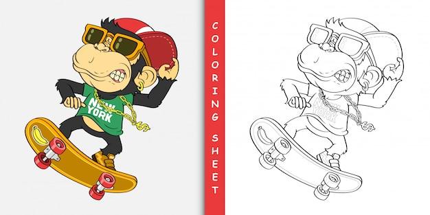 Skate de macaco dos desenhos animados, folha para colorir