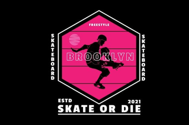Skate freestyle brooklyn cor rosa e branco