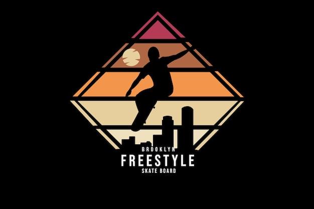 Skate freestyle do brooklyn com cor laranja e vermelho