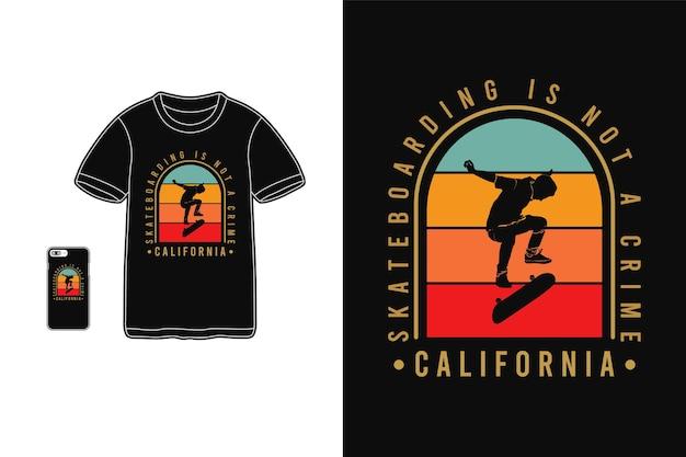 Skate não é crime, t-shirt mercadoria silhueta estilo retro