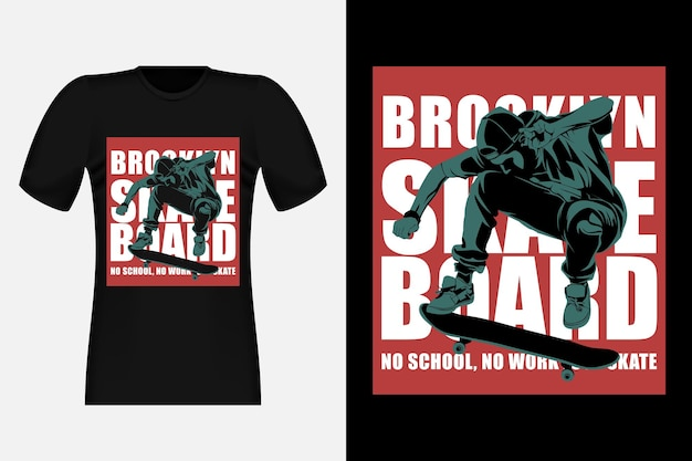 Skate sem escola sem trabalho apenas skate silhouette vintage t-shirt design