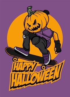 Skateboard jack o lantern
