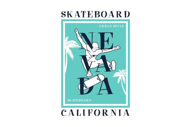 .skateboard nevada california, design silt estilo retro