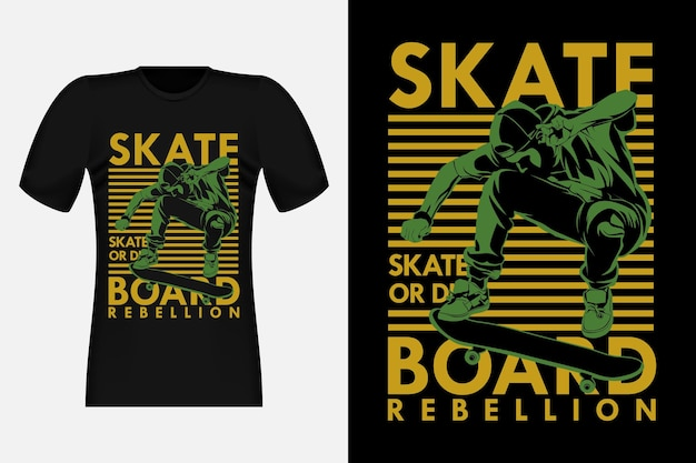 Skateboard rebelion skate or die silhouette design de camisetas vintage
