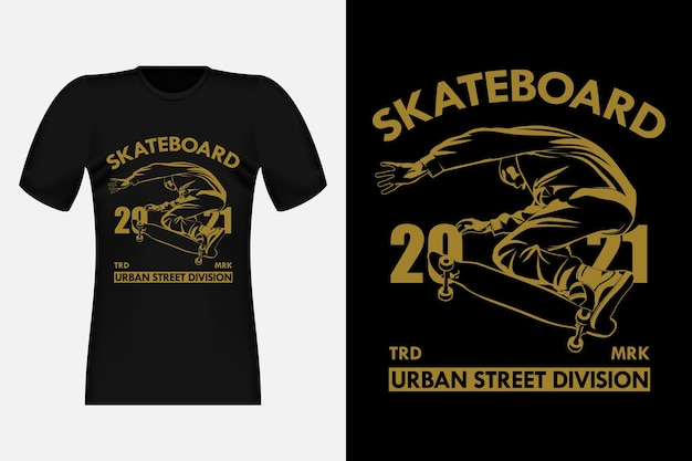 Skateboard urban street division silhouette vintage t-shirt design