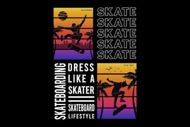Skateboarding, design elegante estilo retro.
