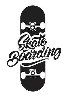 Skateboarding preto e branco com ilustração de skate para impressão de t-shirt.