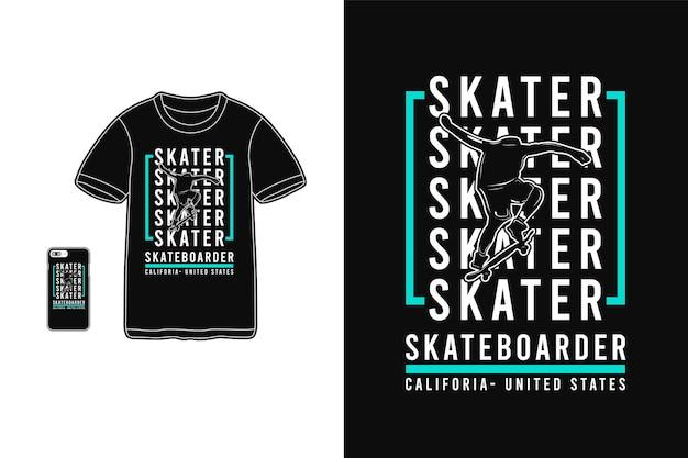 Skater da califórnia para silhueta de design de camiseta