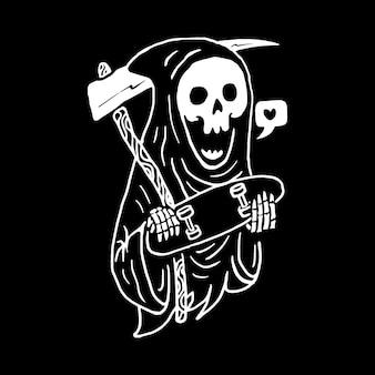 Skatista crânio, design de t-shirt