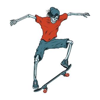 Skatista de esqueleto colorido vintage