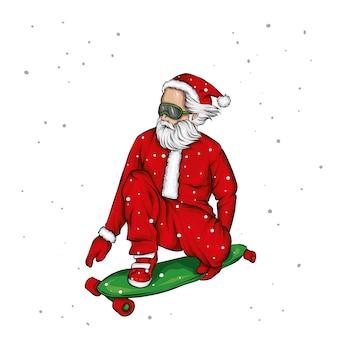 Skatista elegante usando fantasia de papai noel. ilustração.