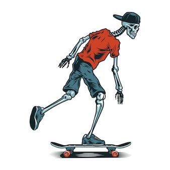 Skatista esqueleto vintage