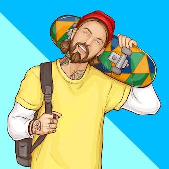 Skatista, hipster segurando o skate, arte pop