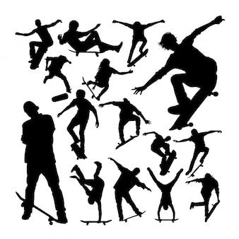 Skatista jogando silhuetas de skate