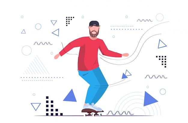 Skatista realizando truques conceito de skateboard adolescente masculino
