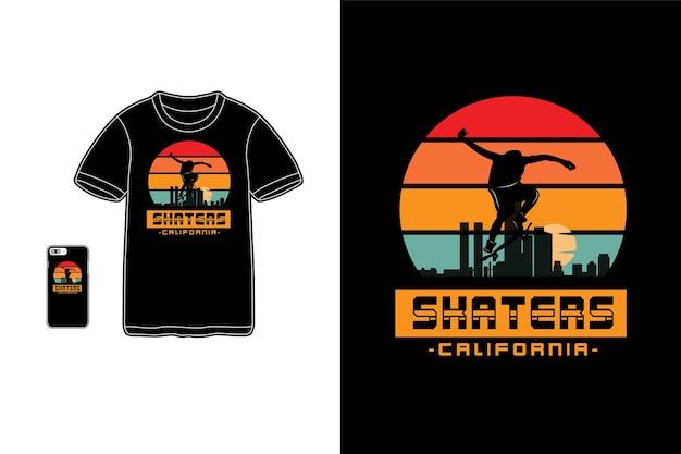 Skatistas da califórnia, tipografia de maquete de siluet de mercadoria de camiseta