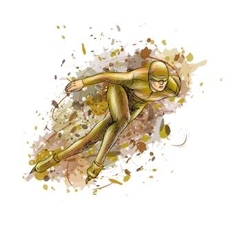 Skatistas de velocidade abstrata de respingos de aquarelas. esporte de inverno pista curta. ilustração de tintas