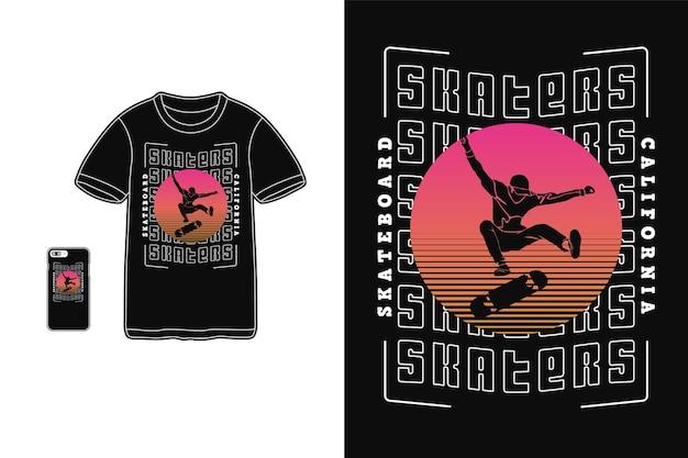 Skatistas t shirt design silhueta estilo retro