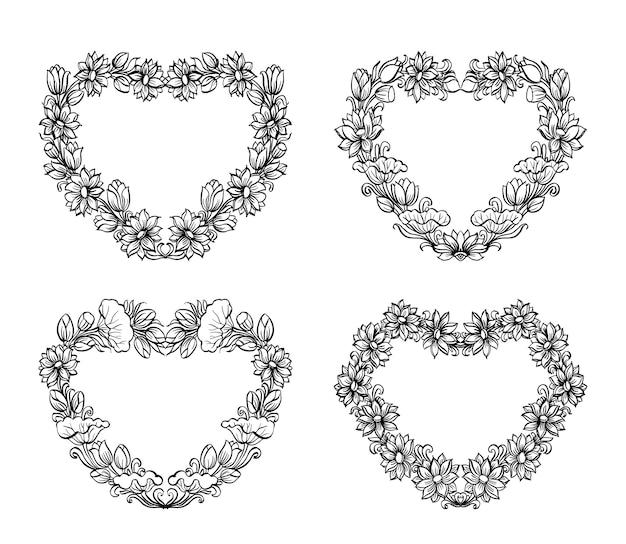 Skecth floral desenhado à mão em forma de coração