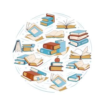 Sketch doodle desenho de livros