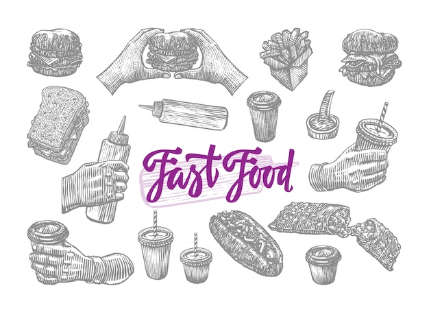 Sketch fast food elements set