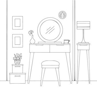 Sketch interior. penteadeira e outros móveis.