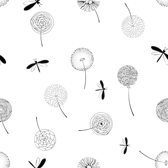 Sketched dandelion seamless pattern