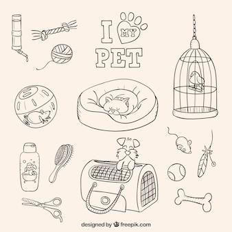 Sketches eu amo meu animal de estimação